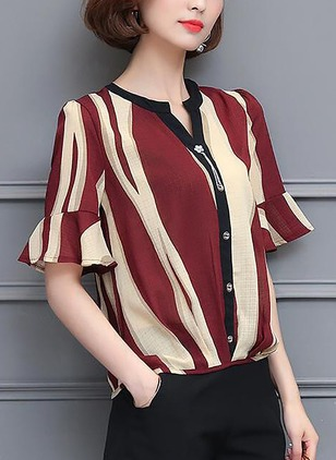 Color Block Chiffon Round Neckline Half Sleeve Blouses