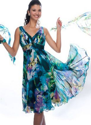 Floral Skater Sleeveless Knee-Length X-line Dress