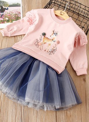 Girls' Cute Animal Holiday Long Sleeve Clothing Sets