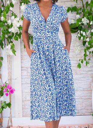 Casual Floral V-Neckline Midi X-line Dress (147006289)
