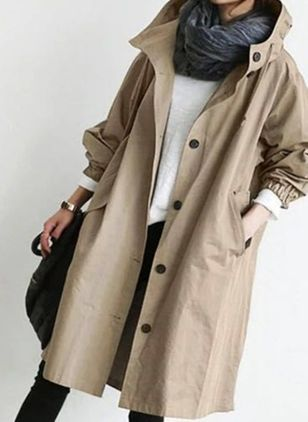 Long Sleeve Hooded Buttons Pockets Coats (106703899)