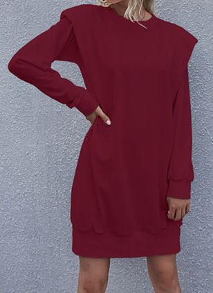 Casual Solid Tunic Round Neckline Shift Dress (107804970)