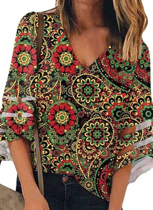 Floral Casual V-Neckline 3/4 Sleeves Blouses (4265679)