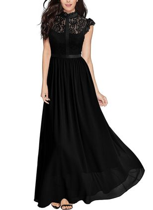Solid Lace Cap Sleeve Maxi Dress