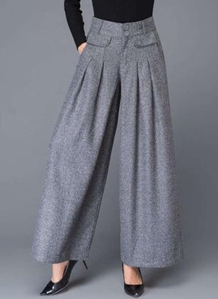 Casual Loose Buttons Pockets High Waist Polyester Pants (111109778)