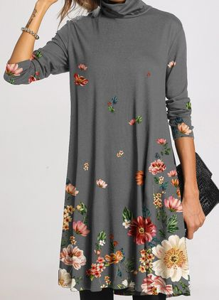 Casual Floral Tunic High Neckline A-line Dress (111798818)