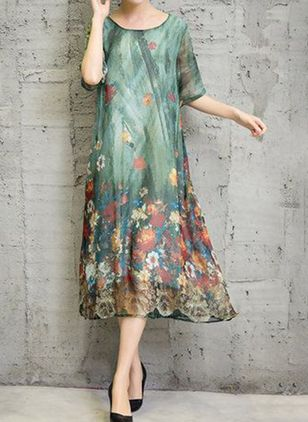 Casual Floral Tunic Round Neckline Shift Dress (1499826)
