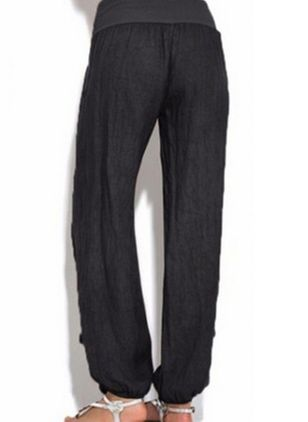Casual Straight Pockets Mid Waist Polyester Pants (146994617)