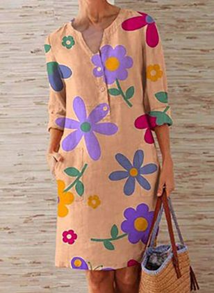 Casual Floral Tunic V-Neckline Shift Dress (101530251)