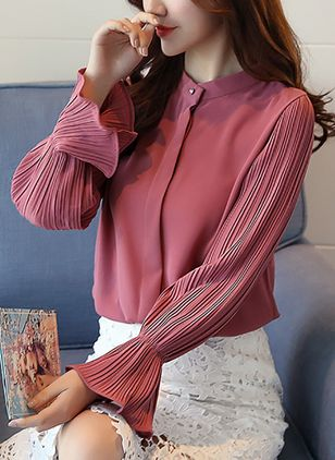 Solid Elegant Long Sleeve Blouses