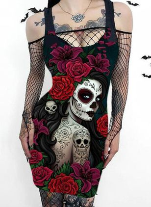 Halloween Character Pencil Camisole Neckline Bodycon Dress (110711888)