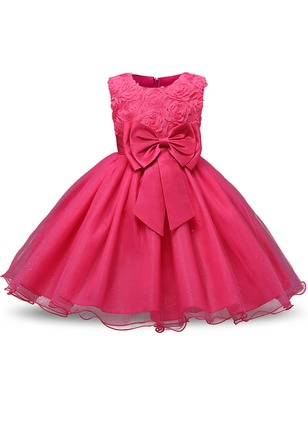 Girls' Solid Party Sleeveless Dresses