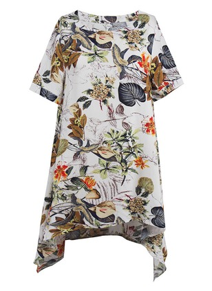 Cotton Floral Short Sleeve Shift Dress