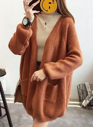 Acrylic Long Sleeve Collarless Others Coats Coats
