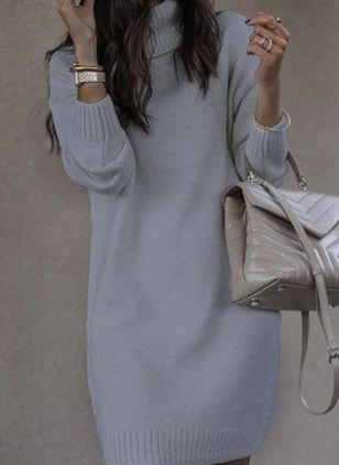 Casual Solid Sweater Draped Neckline Shift Dress (146747140)