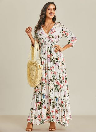 Arabian Floral V-Neckline Maxi A-line Dress (1035329)