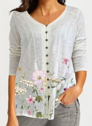 Floral Casual V-Neckline Long Sleeve Blouses (147009732)