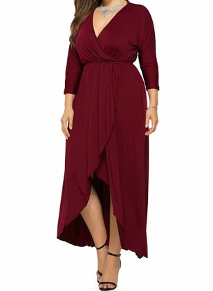 Casual Solid V-Neckline High Low X-line Dress (146771927)