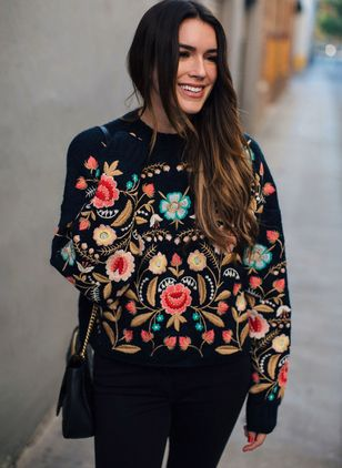 High Neckline Floral Loose Regular Shift Sweaters