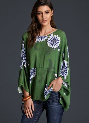 Floral Casual Boat Neckline Long Sleeve Blouses