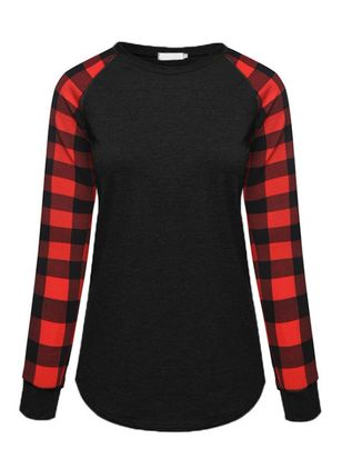 Tartan Round Neck Long Sleeve Casual T-shirts (111109657)