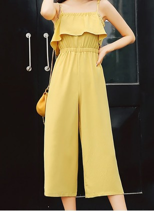 Chiffon Solid Sleeveless Jumpsuits & Rompers