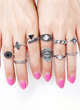 Geometric Round Crystal Rings 10pcs
