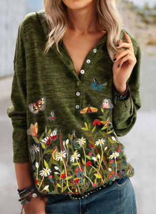 Floral Summer Hooded Long Sleeve Blouses (146664513)