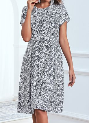 Casual Floral Round Neckline Knee-Length X-line Dress (4219770)