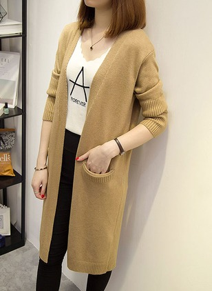 Cotton & Cotton Blend Long Sleeve Other Pockets Coats
