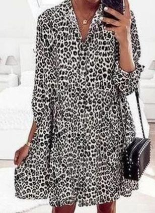 Casual Leopard Tunic V-Neckline Shift Dress (100546575)