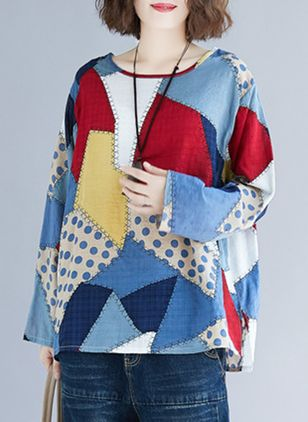 Plus Size Color Block Casual Round Neckline Long Sleeve Blouses