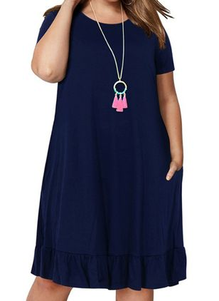 Plus Size Casual Solid Tunic Round Neckline A-line Dress (4040451)