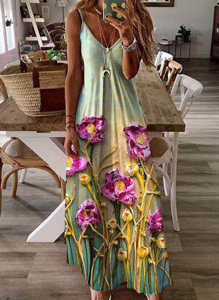 Casual Floral Tunic Camisole Neckline A-line Dress