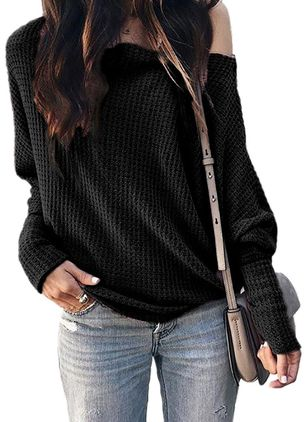 Oblique Neckline Solid Casual Loose Regular Shift Sweaters (101399084)