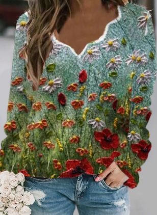 V-Neckline Floral Casual Regular Shift Sweaters (146891345)