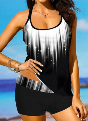 Polyester Color Block Tankinis Swimwear (147193726)