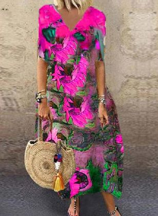 Casual Floral Tunic V-Neckline A-line Dress (100772462)