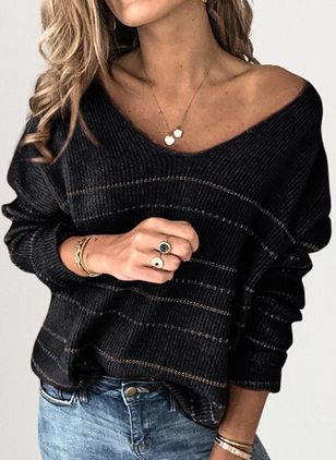 V-Neckline Stripe Casual Loose Short Shift Sweaters (1523467)