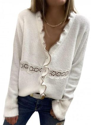 V-Neckline Solid Casual Regular Hollow Out Ruffles Sweaters (146700770)