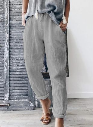 Casual Straight Mid Waist Cotton Pants (147091297)