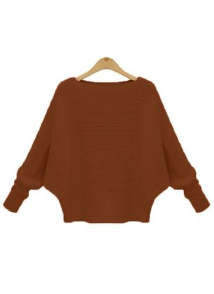 Round Neckline Solid Casual Loose Regular Shift Sweaters (109555556)