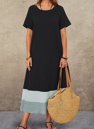 Casual Color Block Tunic Round Neckline A-line Dress (4209021)
