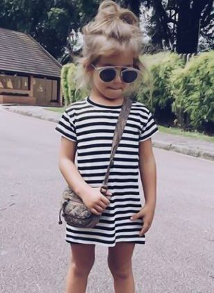 Girls' Casual Stripe Daily Short Sleeve Dresses