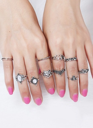 Round Crystal Rings 10pcs