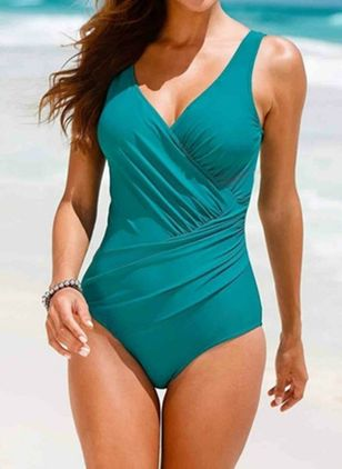 Polyester Solid One-piece Swimwear (146977078)
