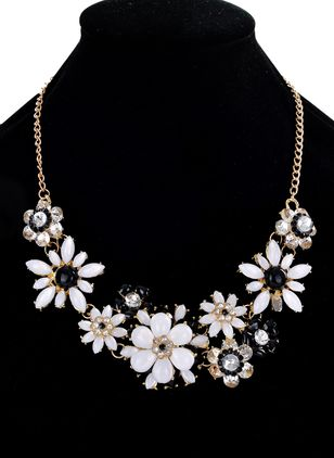 Party Floral Crystal Pendant Necklaces (1542359)