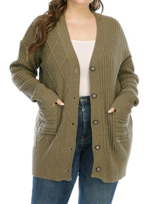 Plus Size Long Sleeve V-neck Buttons Pockets Sweaters Coats (100321254)