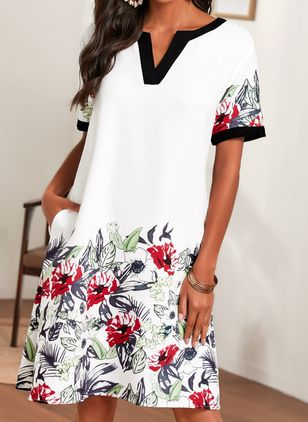 Casual Floral Tunic V-Neckline Shift Dress (1541842)