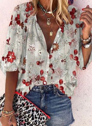 Floral Casual V-Neckline Long Sleeve Blouses (146936893)